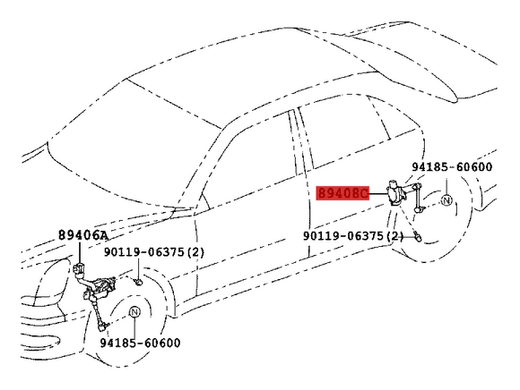 Genuine Lexus Height Control Sensor Rear LH 89408-50060, 8940850060